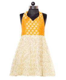 Nappy Monster Brocade Dress - Orange & Golden