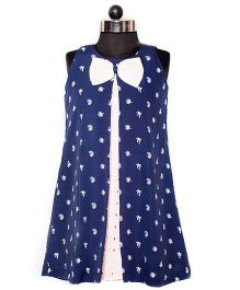 Nappy Monster Crepe & Hakoba Dress With Bow - Blue & White