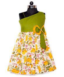Nappy Monster Single Shoulder Dress - Green & Orange