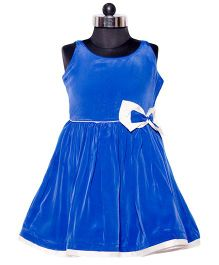 Nappy Monster Crepe Dress With A Bow - Blue