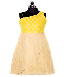 Nappy Monster Brocade Dress With Multilayered Golden Bottom - Yellow