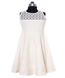 Nappy Monster Lace & Net Dress - Off White