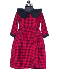 Nappy Monster Check Peter Pan Collar Dress - Red & Black