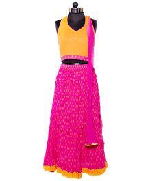 Nappy Monster Halter Neck Blouse Lehenga & Dupatta Set - Orange & Pink