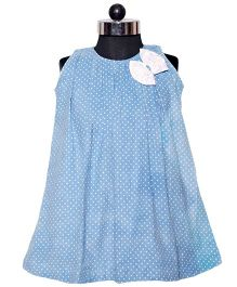 Nappy Monster Polka Dotted Corduroy Dress - Blue