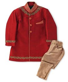 Robo Fry Indo Western Style Kurta And Pyjama Set - Maroon And Beige
