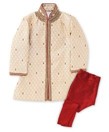 Robo Fry Sherwani And And Pyjama Set - Cream And Maroon