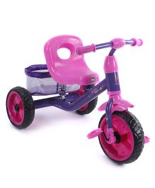 Baby Tricycle With Rear Mesh Basket - Purple & Pink