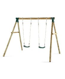 Plum Marmoset Wooden Garden Swing Set - Brown Green