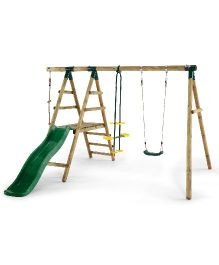 Plum Meerkat Wooden Garden Swing Set And Climbing Frame - Multicolor