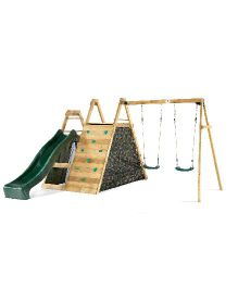 Plum Climbing Pyramid Frame With Double Swing, Play Den And Slide - Multicolor