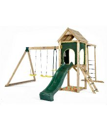 Plum Kudu Wooden Climbing Frame With Double Swing Slide Sand Pit And Monkey Bars - Green Brown