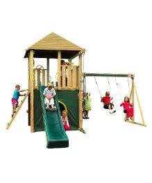 Plum Warthog Wooden Climbing Frame Outdoor Play Centre - Green