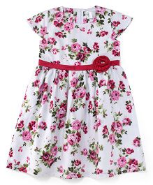 Babyhug Short Sleeves Frock Floral Print - White