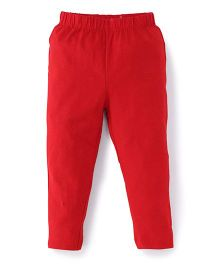 ToffyHouse Full Length Leggings Solid Color - Red