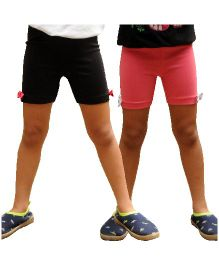 Snowflakes Cycling Shorts Bow Applique Pack of 2 - Pink Black