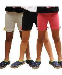 Snowflakes Cycling Shorts Bow Applique Pack of 3 - Pink White Black