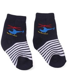 Cute Walk by Babyhug Ankle Length Socks Helicopter Design - Navy Blue