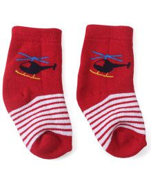 Cute Walk by Babyhug Anti Bacterial Ankle Length Socks Helicopter Design - Red