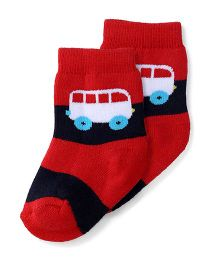 Cute Walk by Babyhug Anti Bacterial Socks Bus Design - Navy Red White