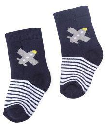 Cute Walk By Babyhug Anti Bacterial Socks Plane Design - Blue