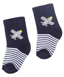 Cute Walk By Babyhug Anti Bacterial Socks Plane Design - Blue
