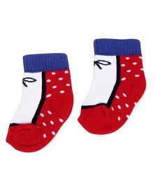 Cute Walk by Babyhug Anti Bacterial Socks - Red White