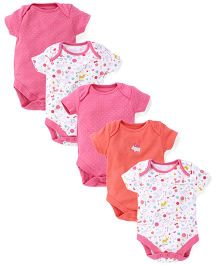 Mothercare Short Sleeves Printed And Solid Color Onesies Pack of 5 - White Pink Coral