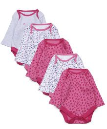 Mothercare Full Sleeves Onesies Kitty Print Pack Of 5 - Pink Grey White