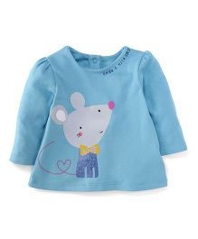 Mothercare Full Sleeves Top Mouse Print - Blue