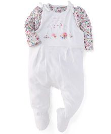 Mothercare Full Sleeves Floral Onesies - Off White
