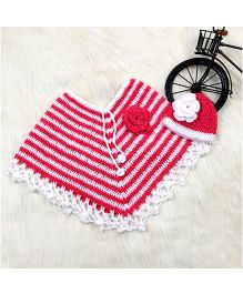 The Original Knit Striped Poncho And Cap Set - White & Red