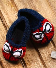 The Original Knit Crochet Booties - Red & Blue