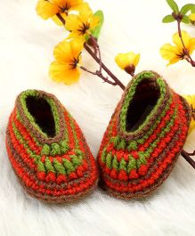 The Original Knit Colourful Crochet Booties - Red & Green