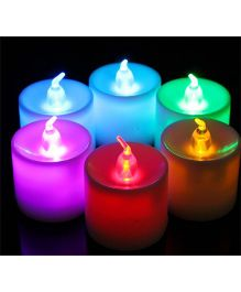 EZ Life 7 Color Changing LED Tea Light Candles (Pack Of 4) - Multicolour