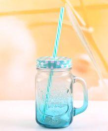 EZ Life Mason Jar Mug With Straw & Lid Gradient - Sea Green