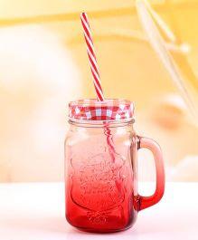 EZ Life Mason Jar Mug With Straw & Lid Gradient - Red