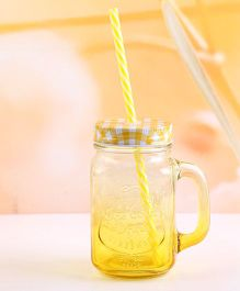 EZ Life Mason Jar Mug With Straw & Lid Gradient - Yellow