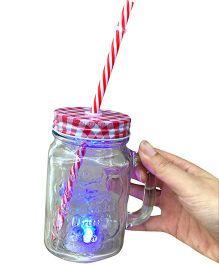 EZ Life Mason Jar Mug With Straw & Lid LED Light - Red