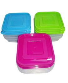 Ez Life 3 Square Plastic Storage Medium Containers - Multicolour