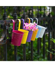 EZ Life Tin Pail Buckets For Serving Gardening Decoration Pack Of 2 - Multicolour