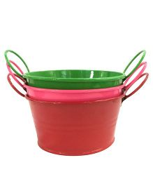 EZ Life Oval Tin Pail Buckets For Serving Gardening Decoration Pack Of 6 - Multicolour
