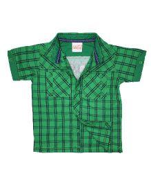 FS Mini Klub Half Sleeves Shirt Checks Print - Green