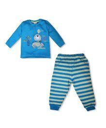 FS Mini Klub Full Sleeves Printed Tee And Stripes Leggings Set - Blue