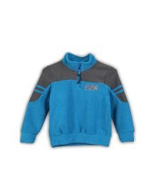 Lilliput Kids Dual Shade Full Sleeves Zippy Neck Sweatshirt - Blue & Grey
