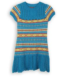 Lilliput Kids Short Sleeves Striped Classic English Tunic - Blue