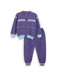Lilliput Kids Full Sleeves Fence Pattern Cardigan With Trousers - Brinjal Purple