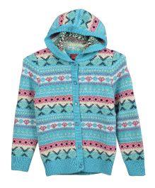 Lilliput Kids Full Sleeves Cupid Maze Hooded Cardigan - Blue
