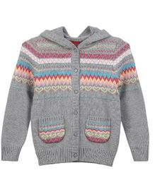 Lilliput Kids Full Sleeves Hooded Cardigan with Assorted Pattern - Grey