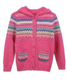 Lilliput Kids Full Sleeves Hooded Cardigan with Assorted Pattern - Fuchsia